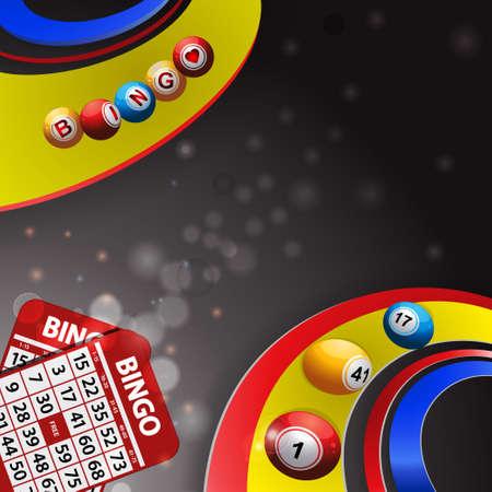 Bingo Balls Rolling Over Multi Coloured Swirls on Glowing Grey Background with Bingo Cards