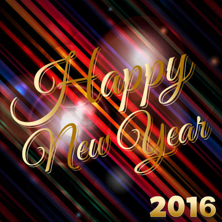 flares: Happy New Year 2016 Text Over Glowing Striped Background with Lens Flares Illustration