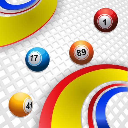 Bingo Balls Rolling between Multi Colors Swirls Over 3D White Background