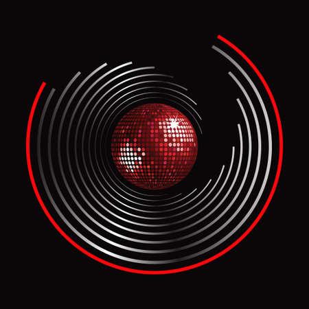 Modelo de la bola de discoteca Red sobre plata y rojo círculo sobre fondo Negro