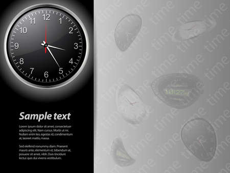 deformed: Black Clock Card with Sample Text and Deformed Clocks Background