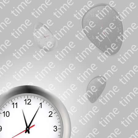deformed: White Clock Background with Deformed Clocks and Text Over Gray Gradients Illustration
