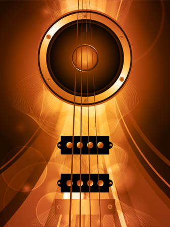 bass guitar: Air Bass Guitar and Loudspeaker Over Golden Glowing Background with Waves