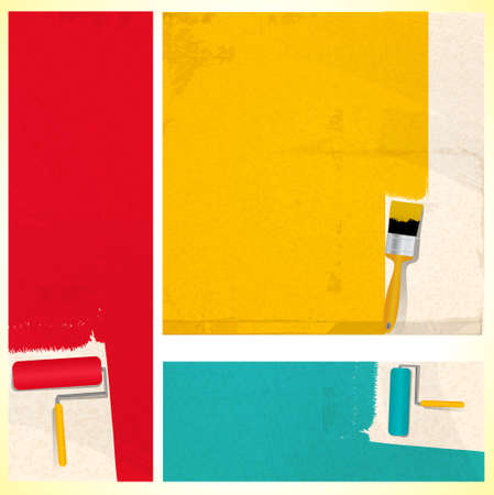 red paint roller: Roller paint stripes and roller brush on a textured background in red, yellow and green
