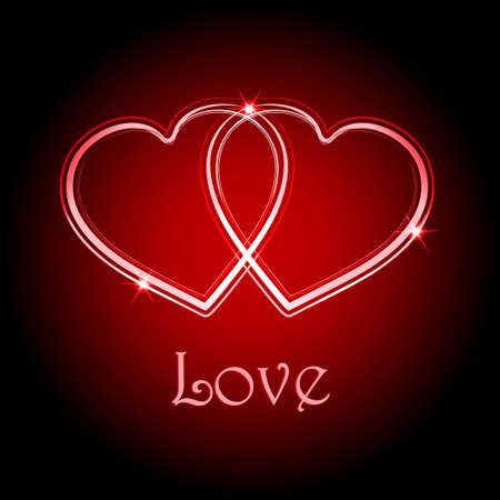 Two Interlocked Neon Red Hearts Over Black and Red Background