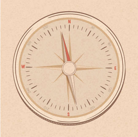 simplistic: Compass in a line drawn simplistic style