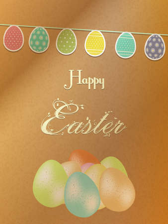 brown paper: Happy Easter Brown paper Background with Egg Shaped Bunting Text and Eggs