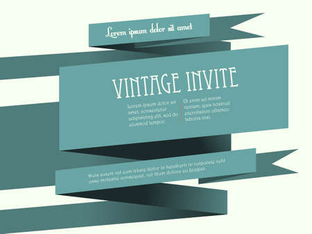 sample text: Vintage 3D Banner Invite Landscape with Sample Text