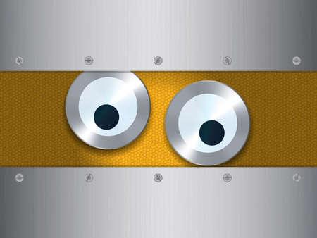 metallic: Cartoon Style Eyes Over Orange Background with Metallic Frame Illustration