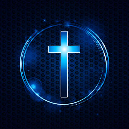 blue metallic background: Blue and White Cross in a Bleu Glowing Circle Over Metallic Honeycomb Background