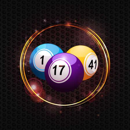 Bingo Balls in Golden Glowing Circle Over Metallic Honeycomb Background Vector Illustration