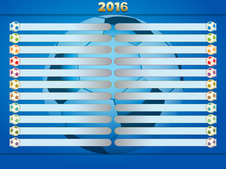 championships: Blue Football Soccer Championships Tables with Football 2016 Illustration