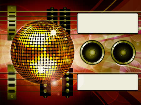 bass guitar: Air Guitar and Bass guitar with Disco Ball Loudspeakers and Tags Illustration