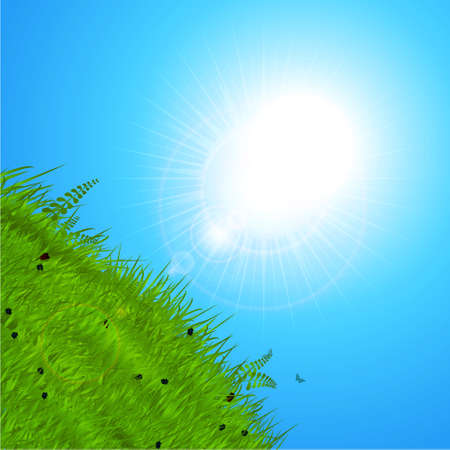 over the hill: Spring Background with Sunshine Reflecting Over Green Hill and Blue Sky Illustration