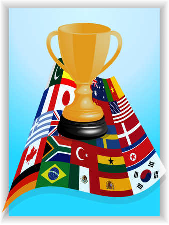 shadow match: Blue Panel and White Frame with 3D World Flags and Gold Trophy Over It