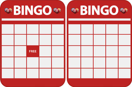 Two Different Kind Of Red Blank Bingo Cards for Cut Out Vektorové ilustrace