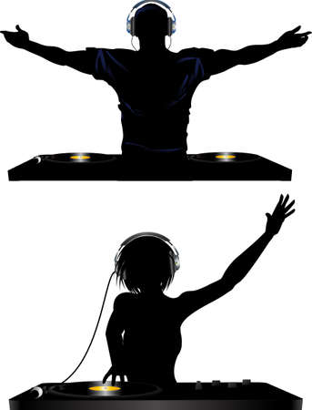 decks: Male and Female Silhouette of DJ Playing Records with Headphones and Record Decks Illustration
