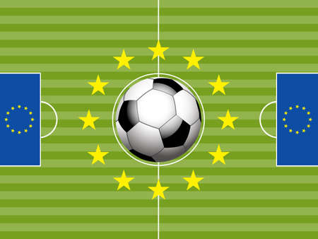 soccer pitch: Football Soccer Pitch with European Flags and Ball Background Illustration