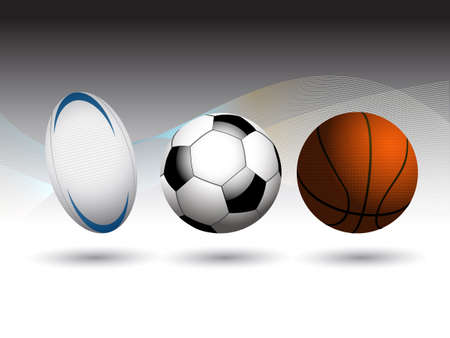 shadow match: Rugby Basketball and Football Soccer3D Background with Coloured Waves Over Black and White Illustration