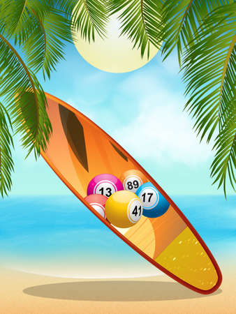 lotto: Surfboard with Bingo Lotto Balls Design on Tropical Beach with Palm Tree Background