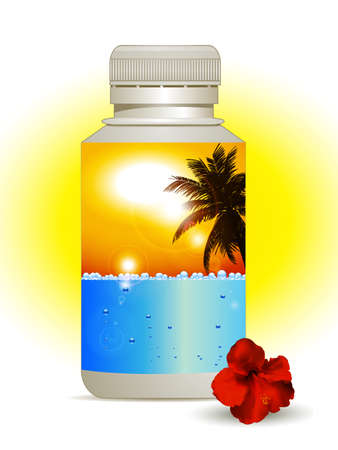 yellow sky: Plastic Bottle with Colorful Label with Blue Sea and Bubbles and Sunny Yellow Sky with Palm Tree and Hibiscus on the Side