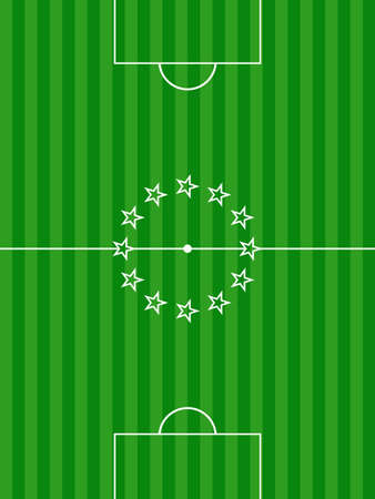soccer pitch: Green Football Soccer Pitch Background with Stars on is Centre Illustration