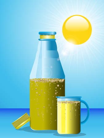 yellow to drink: Blue Bottle and Glass with Sparkling Yellow Drink Over Blue Sky with Sun Illustration