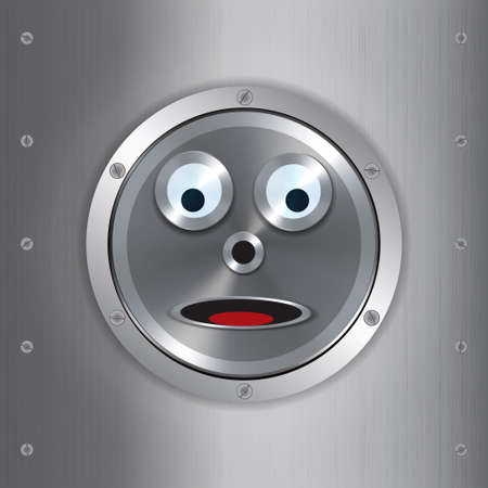 robot face: Surprised Metallic Robot Face Over Brushed Metallic Background with Screws
