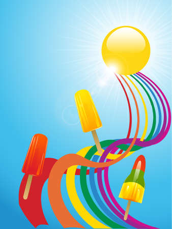 lollies: Ice Lollies Over a Twisted Rainbow and Sun with Lens Flares Illustration