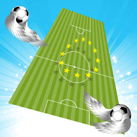 soccer pitch: Flying Footballs Soccer Pitch with European Yellow Stars Over Star Burst Sky with Fooballs with Wings Illustration
