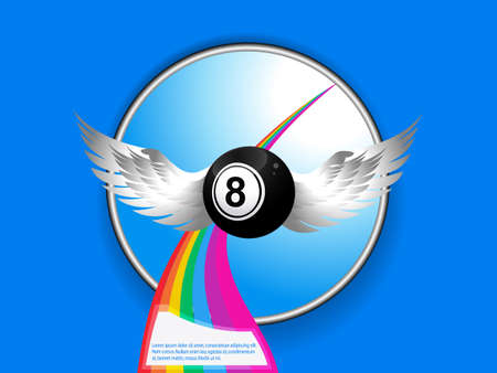metallic border: Bingo Ball Number Eight with Wings Over Metallic Border and Rainbow with Sample Text on Blue Background