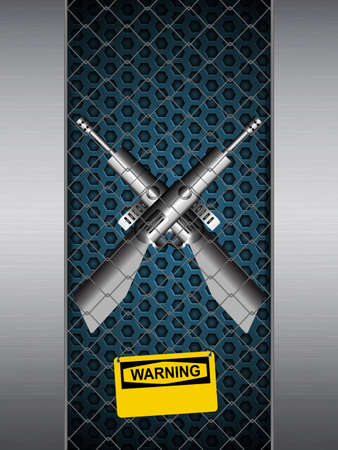 gunshot: Guns Crossing in A Brushed Metallic Cage with Yellow Warning Sign Background Illustration