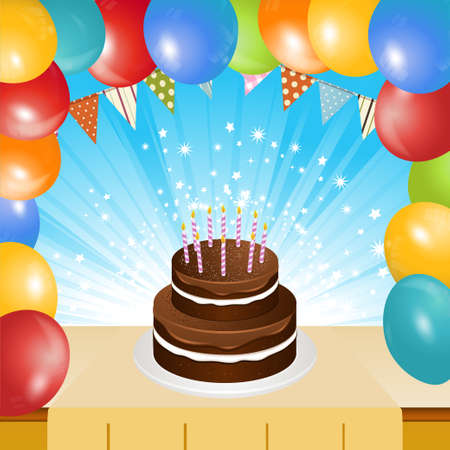 dusting: Birthday Chocolate Cake with Candles on Table Top with Balloons Frame and Star Burst Background
