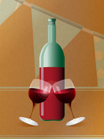 3d paper art: Red Wine Bottle and Tilting Glasses Over Brown Paper and Bunting Background