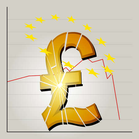 british pound: Broken British Pound Symbol and Yellow Stars Over the Top on Stock Exchange Graphic Background