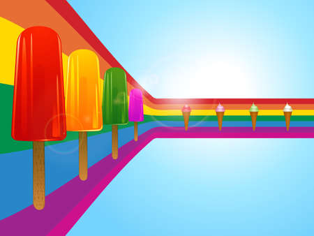 lollies: Row of Ice Lollies and Ice Cream Over Curved Rainbow on Sunny Sky Background with Lens Flares