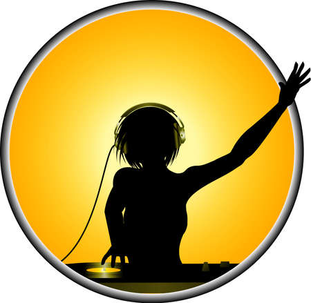 decks: Female DJ with Headphone and Record Decks Over Metallic Border with Yellow Background