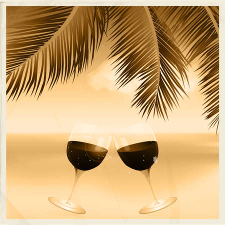 toasting wine: Vintage Sepia Tropical Scene with Wine Glasses Toasting Under a Palm Tree