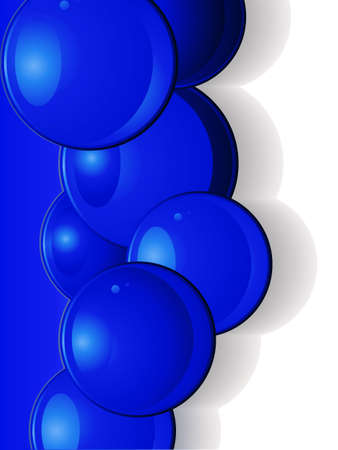 gray scale: Dark Blue Glossy 3D Spheres Over Blue and White Background with Shadows