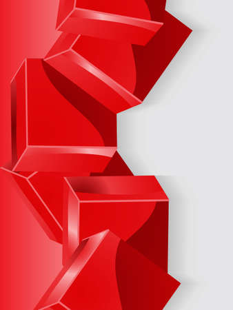 grey scale: Glossy Geometric 3D Red Cubes Over Grey Scale Portrait Background