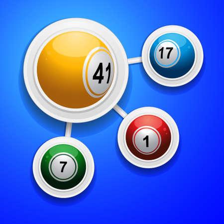 Four 3D Bingo Balls on White Frame Over Blue Background Vector Illustration