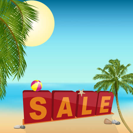 pebbles: Summer Sale Sign Over Tropical Beach with Palm Trees Sand Starfish and pebbles