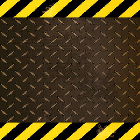 edges: Metallic Diamond Rusty Plate with Yellow and Black Striped Edges Illustration