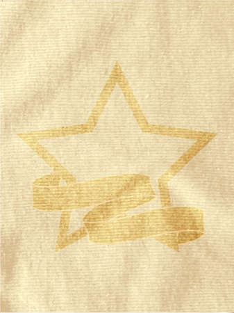 crease: Vintage Star and Printed on Brown Crumpled Material Background