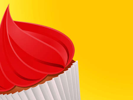 Close Up Red Cupcake With White Wrapping Over Bright Yellow Background Illustration