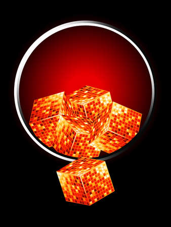 metallic border: Golden 3D Cubes Overflowing From Metallic Border Over Black and Red Background