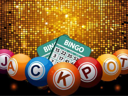 Bingo Ballen met Jackpot Word and Cards Over Golden Disco Muur