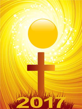 Abstract Cross Over Golden Swirl Star Burst Sun and Twenty Seventeen Date
