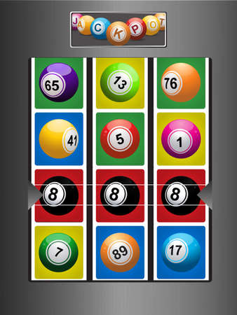 8 ball: Brushed Metallic Fruit Machine with Bingo Lottery Balls and Winning Line of Black Number 8 Ball Illustration