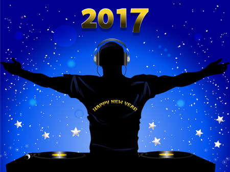 decks: DJ Silhouette with Record Decks and Happy New Year T-shirt  Over Blue Festive Background with 2017 and Stars